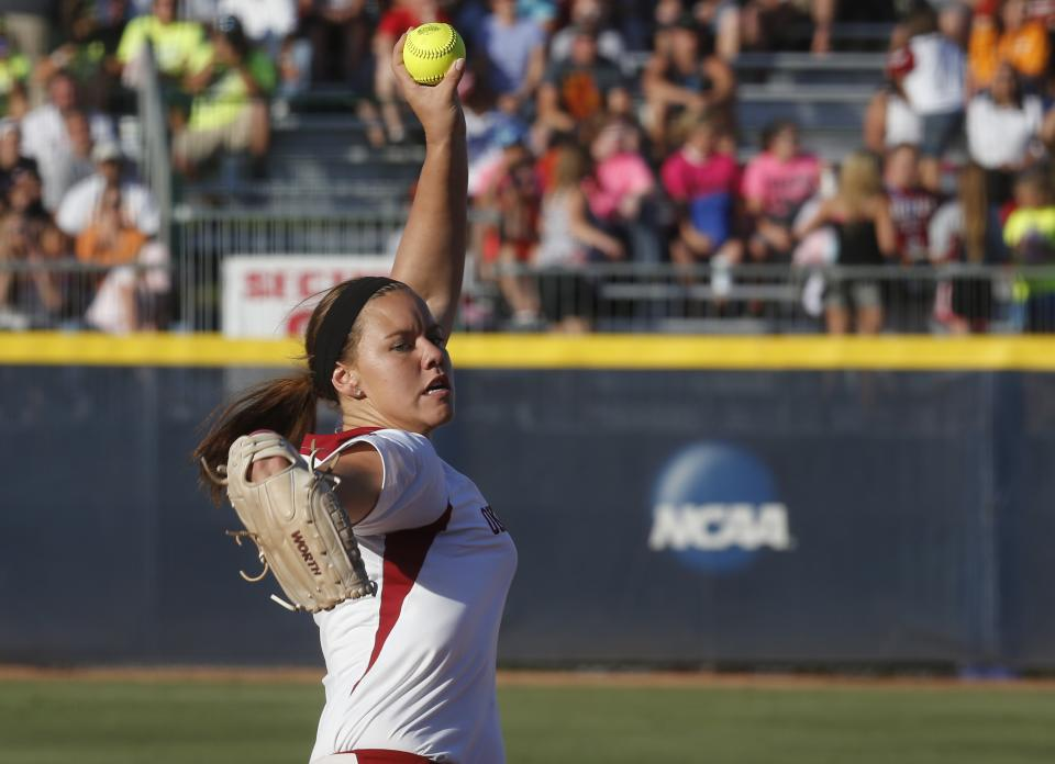 Oklahoma pitcher Keilani Ricketts pitches against Tennessee in the first inning of the first game of the best of three Women's College World Series NCAA softball championship series in Oklahoma City, Monday, June 3, 2013. (AP Photo/Sue Ogrocki)