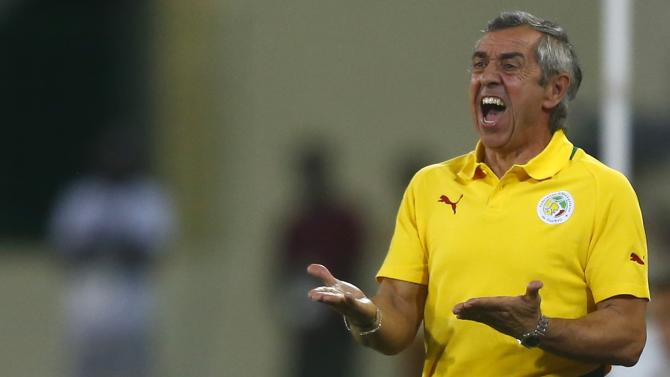 Senegal's head coach Alain Giresse of France reacts during their Group C soccer match against Algeria in the African Cup of Nations in Malabo