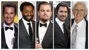 File combination photo shows nominees for the Academy Awards best actor category Matthew McConaughey, Leonardo DiCaprio, Chiwetel Ejiofor, Christian Bale and Bruce Dern
