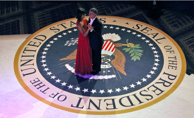 President Barack Obama and first lady Michelle Obama dance at the Commander-in-Chief's Inaugural Ball in Washington, at the Washington Convention Center during the 57th Presidential Inauguration Monda