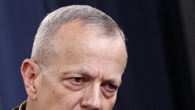 FILE - This May 23, 2012 file photo shows Marine Gen. John R. Allen speaking at the Pentagon. The White House says it will go ahead with Allen's nomination to become NATO commander. The nomination had been put on hold while the Pentagon investigated Allen's email exchanges with a Florida woman linked to a sex scandal that led David Petraeus to resign as CIA director.   (AP Photo/Haraz N. Ghanbari, File)