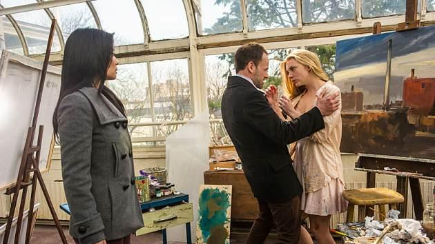 Lucy Liu as Joan, Jonny Lee Miller as Sherlock and Natalie Dormer as Irene Adler in 'Elementary' Season 1 -- CBS