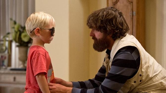 """This film publicity image released by Warner Bros. Pictures shows Grant Holmquist as Tyler/Carlos, left, and Zach Galifianakis as Alan in a scene from """"The Hangover Part III."""" (AP Photo/Warner Bros. Pictures)"""