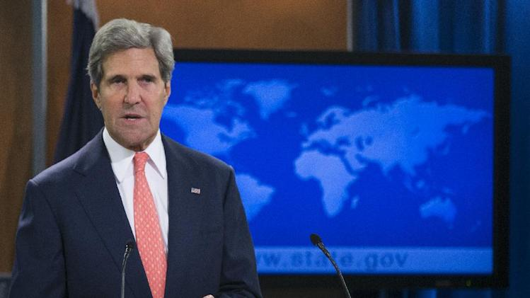 Secretary of State John Kerry speaks at the State Department in Washington, Monday, Aug. 26, 2013, about the situation in Syria. Kerry said chemical weapons were used in Syria, and accused Assad of destroying evidence. (AP Photo/Manuel Balce Ceneta)