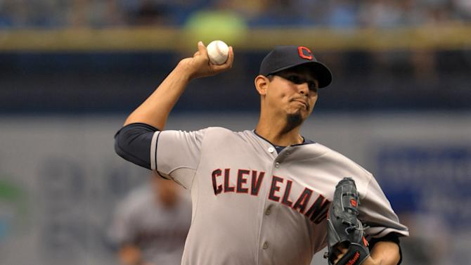 Cleveland Indians starter Carlos Carrasco pitches against the Tampa Bay Rays during the first inning of a baseball game Wednesday, July 1, 2015, in St. Petersburg, Fla. Carrasco lost his bid for a no-hitter with two outs in the ninth inning when Tampa Bay's Joey Butler hit a RBI-single to right center. The Indians beat the Rays 8-1. (AP Photo/Steve Nesius)
