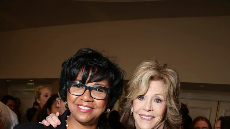 Cheryl Boone Isaacs and Jane Fonda attend THR's celebration of power 100 women in entertainment breakfast on Wednesday, Dec. 11, 2013 in Beverly Hills, Calif. (Photo by Eric Charbonneau/Invision for The Hollywood Reporter/AP Images)