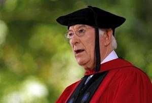 Poet Seamus Heaney recites his poem at Harvard University in Cambridge