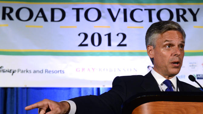 Republican presidential candidate, former Utah Gov. Jon Huntsman, Jr., speaks during the Orange County Republican Party's Lincoln Day Dinner in Orlando, Fla., Saturday, July 30, 2011. (AP Photo/Phelan M. Ebenhack)
