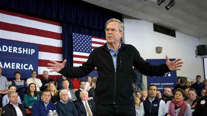 U.S. Republican presidential candidate Jeb Bush speaks at a campaign event in Bedford