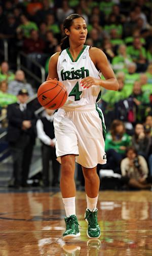 Notre Dame guard Skylar Diggins headsup court in the first half of an NCAA college basketball game against Tennessee, Monday, Jan. 23, 2012, in South Bend, Ind. (AP Photo/Joe Raymond)