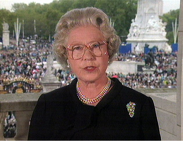 FILE - In this Sept. 5, 1997 file image from video, Britain&amp;#39;s Queen Elizabeth II speaks from London&amp;#39;s Buckingham Palace to pay tribute to Diana, Princess of Wales. Starting Saturday, June 2, 2