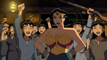 Wonder Woman (voiced by Lucy Lawless ) in Warner Premiere's Justice League: The New Frontier