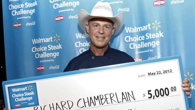 COMMERCIAL IMAGE - In this photograph taken by AP Images for Walmart, recently crowned champion chef Richard Chamberlain of Chamberlain's Steak and Chop House in Dallas, Texas appears at the Walmart Choice Steak Challenge presented by Kingsford charcoal and Coca-Cola on May 22, 2012 in New York. (Brian Ach/AP Images for Walmart)