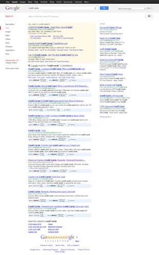 Do You Deserve A First Page Ranking? image credit cards Google Search2