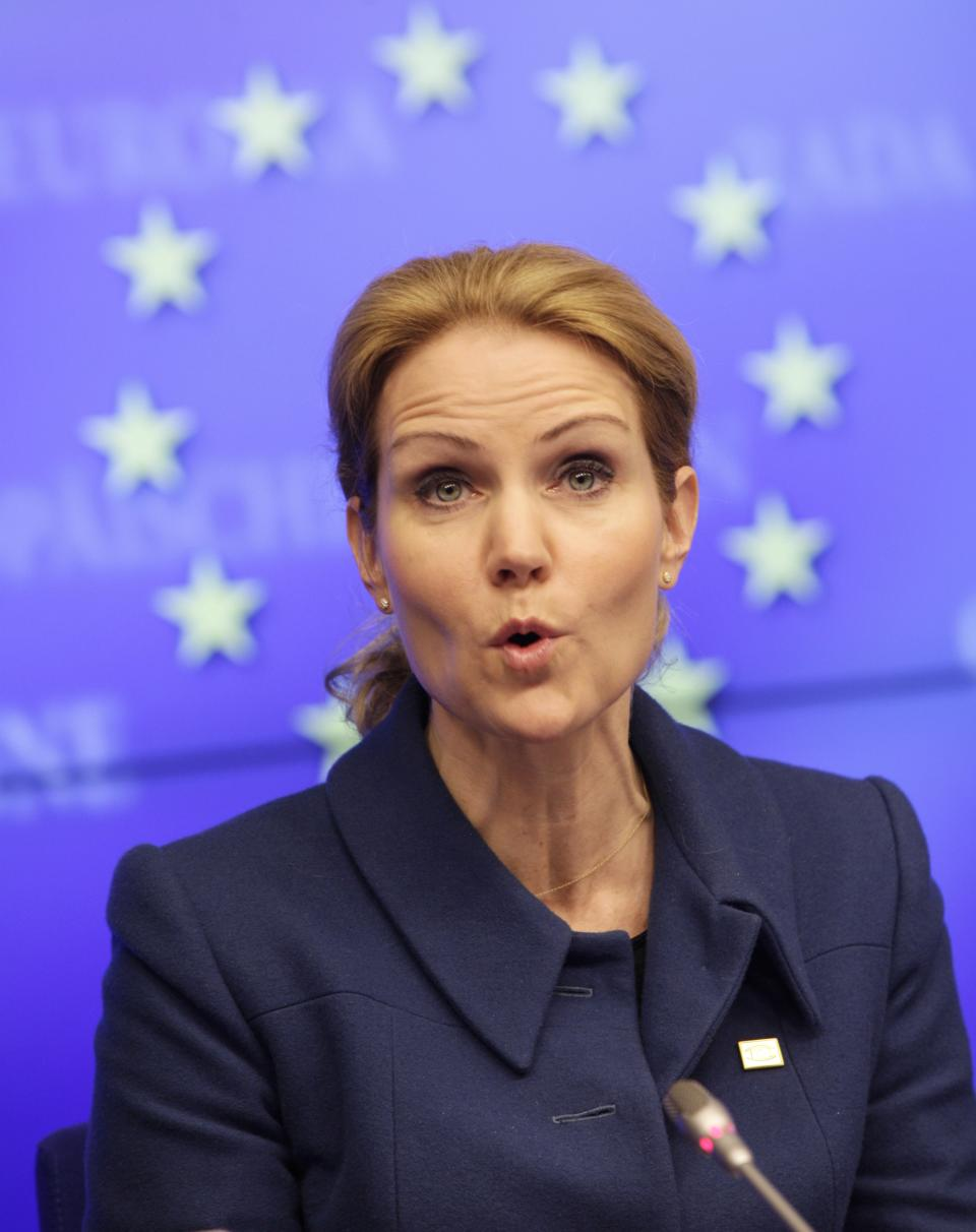 Denmark's Prime Minister Helle Thorning-Schmidt speaks during a media conference at an EU summit in Brussels on Thursday, March 1, 2012. European leaders meet for a two-day summit aimed at tackling unemployment and boosting economic growth in the region. (AP Photo/Virginia Mayo)
