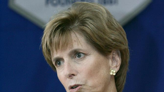 FILE - This March 10, 2006 file photo shows former Environmental Protection Agency (EPA) Administrator Christine Todd Whitman speaking in Decorah, Iowa. Top environmental regulators for four Republican presidents told Congress on Wednesday what many Republican lawmakers won't: Action is needed on global warming. (AP Photo/Charlie Neibergall, File)