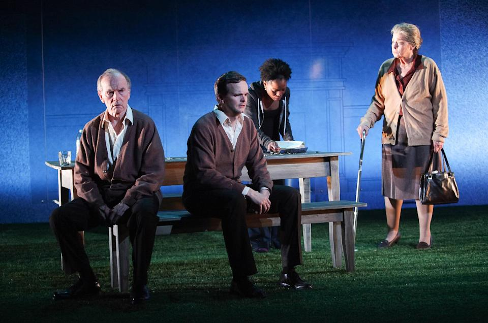 "Shown in a publicity photo released by Lincoln Center Theater are, from left, Robert Hogan, Dashiell Eaves, Marsha Stephanie Blake and Jenny O'Hara, in a scene from the LCT3 production of ""Luck of the Irish,"" currently performing off-Broadway at the Claire Tow Theater in New York. (AP Photo/Lincoln Center Theater, Erin Baiano.)"