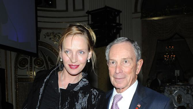 New York City Mayor Michael Bloomberg and Uma Thurman attend The National Audubon Society's first gala to jointly award the Audubon Medal and the inaugural Dan W. Lufkin Prize for Environmental Leadership, Thursday, Jan. 17, 2013, in New York.  (Photo by Diane Bondareff/Invision for The National Audubon Society/AP Images)