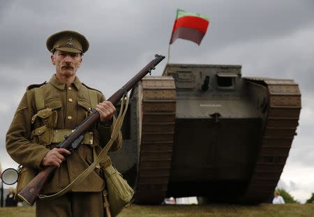 Helad participates in a mock WWI battle at the Colchester Military Tournament in Colchester