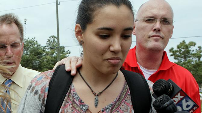 Michelle Alvarez a student at Lone Star College's Cypress-Fairbanks campus was one of the injured in the stabbing attack at the campus, authorities are reporting least 15 people were hurt in a stabbing at the campus Tuesday, April 9, 2013, in Cypress, Texas. (AP Photo/Houston Chronicle, James Nielsen)