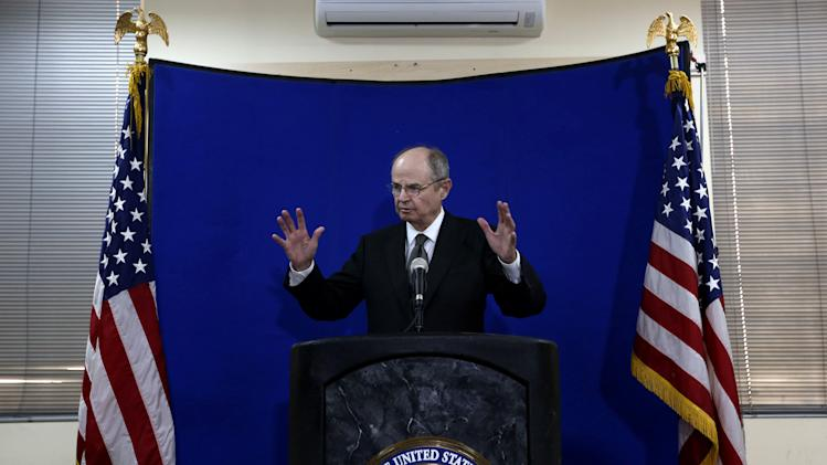 Special Representative for Afghanistan and Pakistan, James F. Dobbins speaks during a press conference at the U.S. embassy in Kabul, Afghanistan, Tuesday, July 22, 2014. (AP Photo/Rahmat Gul)