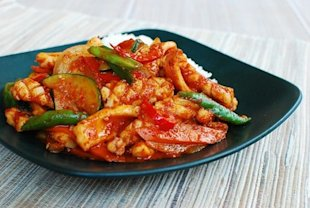 Korean Spicy Stir-Fried Squid