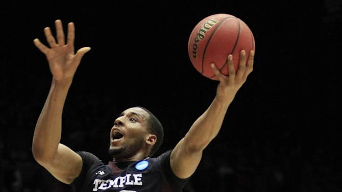 Temple forward Rahlir Hollis-Jefferson (32) drives past Indiana forward Cody Zeller in the first half of a third-round game of the NCAA college basketball tournament on Sunday, March 24, 2013, in Dayton, Ohio. (AP Photo/Skip Peterson)
