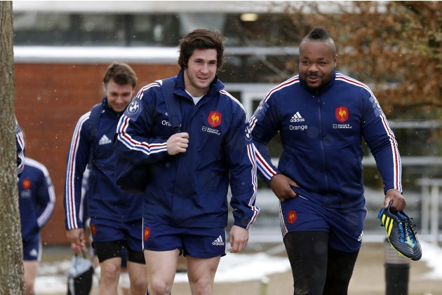 France's rugby players Maxime Machenaud and Mathieu Bastareaud attend a training session at the Rugby Union National Centre in Marcoussis