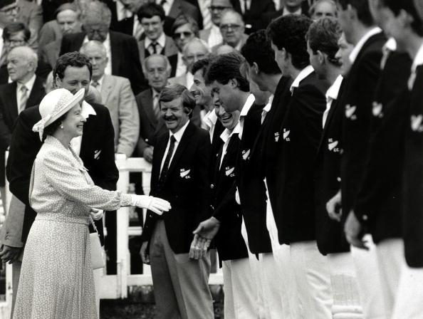 British Royalty. Sport. pic: 25th July 1986. HM Queen Elizabeth II meets members of the touring New Zealand cricket team at Lord's prior to the 1st Test Match against England.