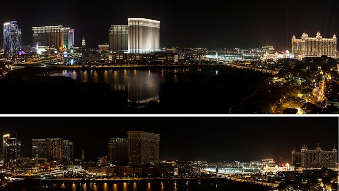 IMAGE DISTRIBUTED FOR WWF/EARTH HOUR GLOBAL - Combination photos. The Macau skyline can be seen before (top) and after (below) the population of the city observed Earth Hour on Saturday, March 23, 2013. Earth Hour Global is a worldwide event organized by the World Wide Fund for Nature (WWF) encouraging households and businesses to turn off their non-essential lights for one hour to raise awareness about the need to take action on climate change. The event is designed to highlight the impact climate change is having on people and nature. Millions of people in more than 150 countries are expected to take part. Earth Hour 2013 is being held on March 23, 2013 from 8:30 p.m. to 9:30 p.m. during participants' local time. (AP Images for WWF/Earth Hour Global)