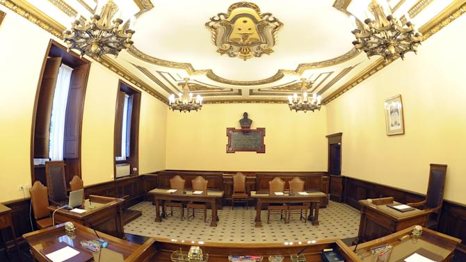 This picture made available by the Vatican newspaper L' Osservatore Romano, shows the Vatican courtroom where Pope Benedict XVI's butler, Paolo Gabriele is scheduled to appear, Saturday, Sept. 28, 2012. Pope Benedict XVI's trusted butler, who dressed the pontiff each morning, attended his daily Mass and helped serve him his meals, stands accused of stealing the pope's private correspondence and giving it to a journalist who wrote a blockbuster book about the secrets of one of the most secretive institutions in the world. (AP Photo/L'Osservatore Romano)