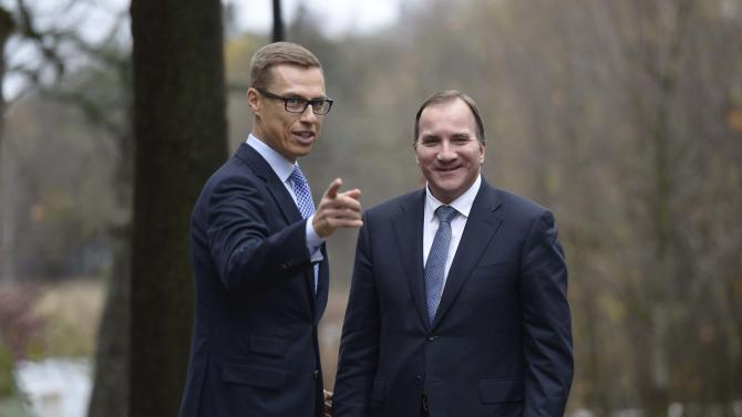 Swedish Prime Minister Stefan Lofven and his Finnish counterpart Alexander Stubb meet at the Stubb's official residence in Helsinki
