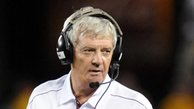 Virginia Tech head coach Frank Beamer looks to the sideline against Georgia Tech during the second half of an NCAA college football game, Monday, Sept. 3, 2012, in Blacksburg, Va. Virginia Tech won 20-17 in overtime. (AP Photo/Don Petersen)