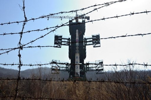 <p>The North Korean Unha-3 rocket is pictured at Tangachai-ri space center on April 8. North Korea has said the rocket would place a satellite in orbit for peaceful research purposes, but Western critics see the launch as a thinly veiled ballistic missile test, banned by United Nations resolutions.</p>