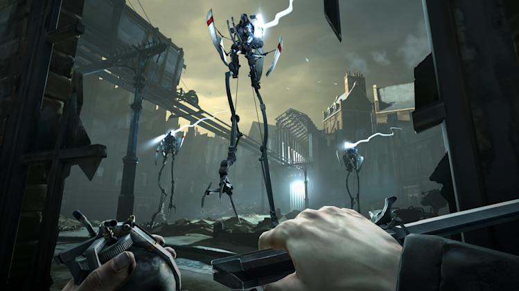 """FILE - This video game image released by Bethesda Softworks shows a scene from """"Dishonored.""""  A pair of assassins, a horde of zombies and an intergalactic commander are facing off against a scarf-clad wanderer at the 2012 Spike Video Game Awards. """"Assassin's Creed III,"""" """"Dishonored,"""" """"The Walking Dead: The Game"""" and """"Mass Effect 3"""" are competing to become game of the year against """"Journey,"""" the artsy downloadable game that leads the 10th annual ceremony's nominees with seven nods. (AP Photo/Bethesda Softworks, File)"""