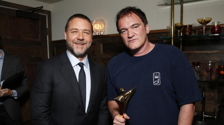 Russell Crowe and Quentin Tarantino attend the Australian Academy Of Cinema And Television Arts' 2nd AACTA International Awards at Soho House on January 26, 2013 in West Hollywood, California. (Photo by Todd Williamson/Invision/AP Images)