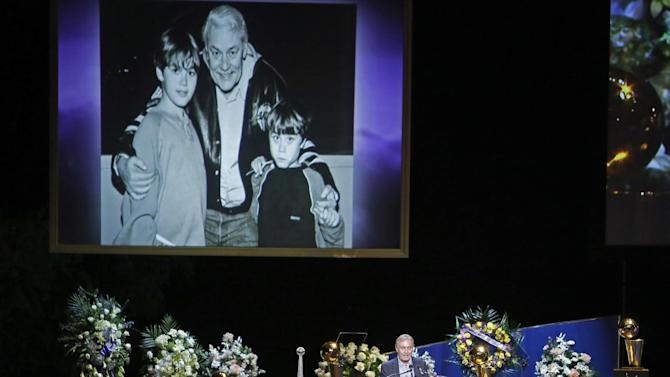 Johnny Buss speaks during a memorial service for his father Jerry Buss, the late Los Angeles Lakers owner who died Monday from cancer complications, Thursday, Feb. 21, 2013, in Los Angeles. (AP Photo/Reed Saxon)