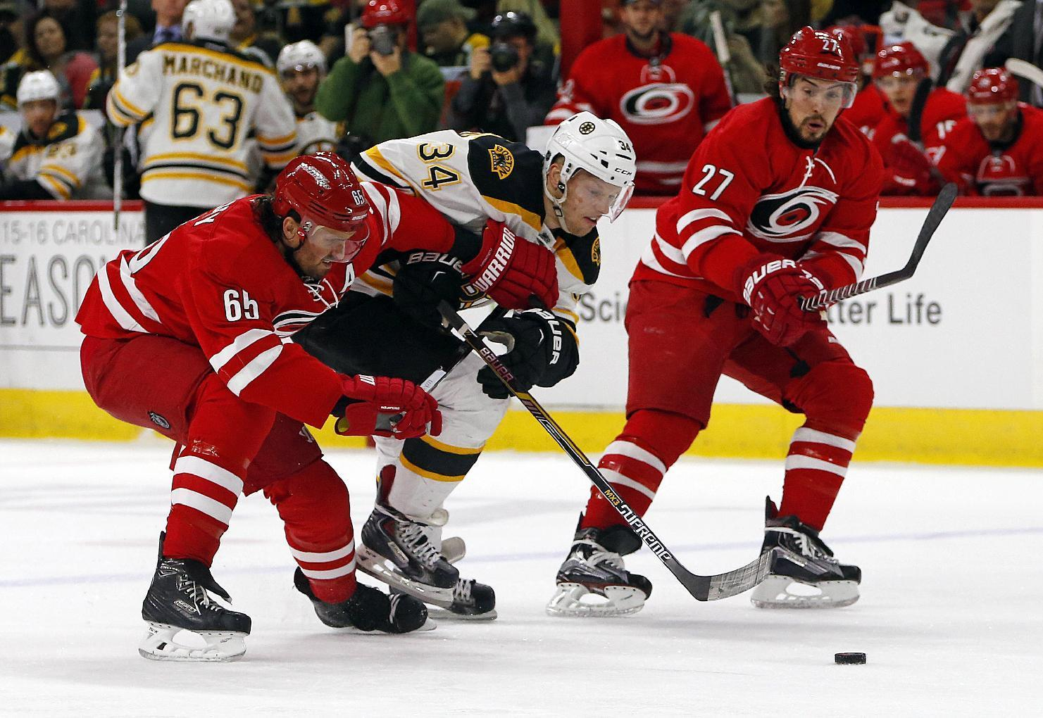 Bruins edge Hurricanes 2-1 in OT