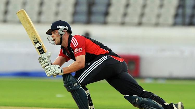 Jonathon Trott plays a shot during a practice match against Hyderabad at Rajiv Gandhi International Stadium in Hyderabad on October 11, 2011