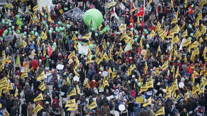 Protesters demonstrate during rally in Berlin ahead of COP21 summit