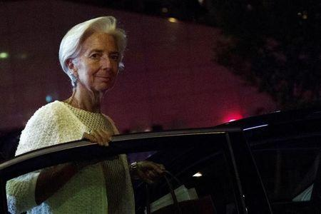 International Monetary Fund Managing Director Lagarde leaves after a euro zone finance ministers' meeting on Greece, in Brussels,