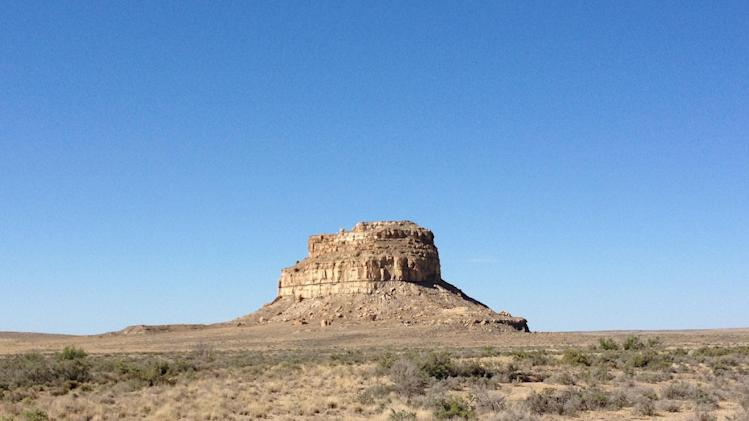 This August 2012 photo shows Fajada Butte, Chaco Canyon, in northwestern New Mexico. Chaco Canyon, the center of a culture that flourished from the 800s to the 1100s, is run by the National Park Service and is accessible only via dirt road. (AP Photo/Margaret Matthews)