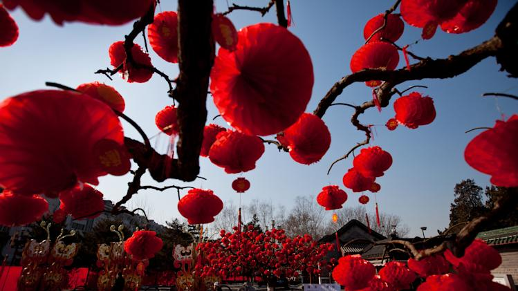 Visitors stroll near the trees decorated with red lanterns ahead of Chinese New Year celebrations at Ditan Park in Beijing, Friday, Feb. 8, 2013. Chinese will celebrate the Lunar New Year on Feb. 10 this year which marks the Year of Snake. (AP Photo/Andy Wong)