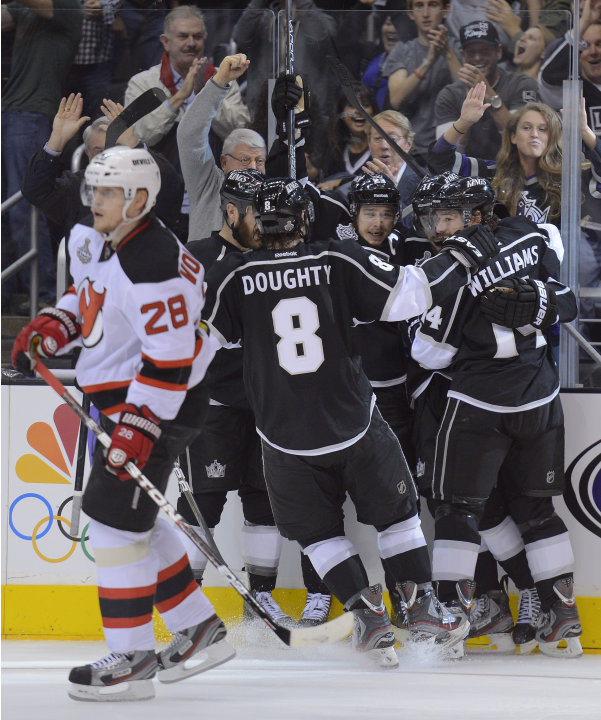 The Los Angeles Kings celebrate after scoring a second period goal against the new Jersey Devils during Game 3 of the Stanley Cup Finals, Monday, June 4, 2012, in Los Angeles. Anze Kopitar scored the