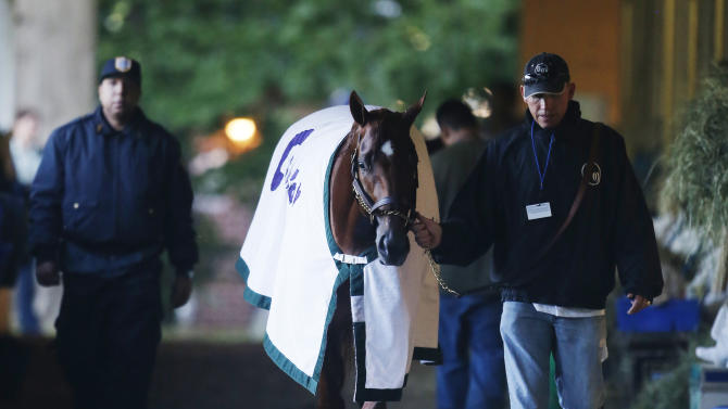 I'll Have Another walks in the barn with groom Benjamin Perez after a morning workout at Belmont Park, Friday, June 8, 2012 in Elmont, N.Y. The Triple Crown hopeful runs Saturday in the Belmont Stakes. (AP Photo/Mark Lennihan)