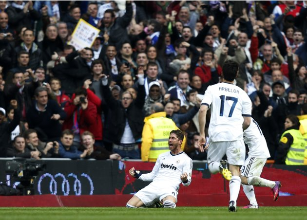 Real Madrid's Ramos celebrates his goal against Barcelona during their Spanish first division soccer match in Madrid