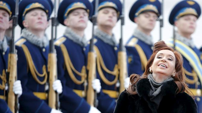 Argentina's President Cristina Fernandez attends a welcoming ceremony upon her arrival at Moscow's Vnukovo airport