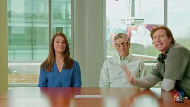 Bill and Melinda Gates keep a straight face, while trying to be funny