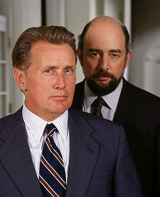 "Martin Sheen as President Josiah Bartlet and Richard Schiff as Communications Director Toby Ziegler on NBC's ""The West Wing"" West Wing"