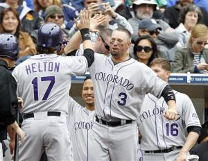 Helton's HR, combo 2-hitter send Rockies over SD